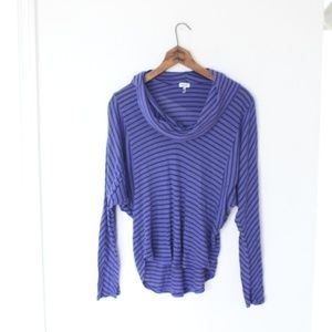 Spendid purple & black striped slouchy shirt M